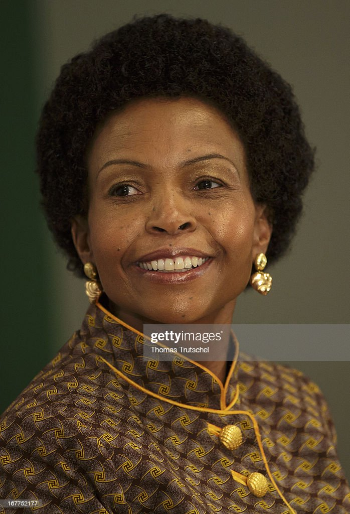Foreign Minister of South Africa, Maite Nkoana-Mashabane, is pictured during a press conference with German Foreign Minister Guido Westerwelle (not pictured) on April 29, 2013 in Pretoria, South Africa. Westerwelle is on a four day trip to Africa with Stops in Ghana, South Africa and Mozambique.
