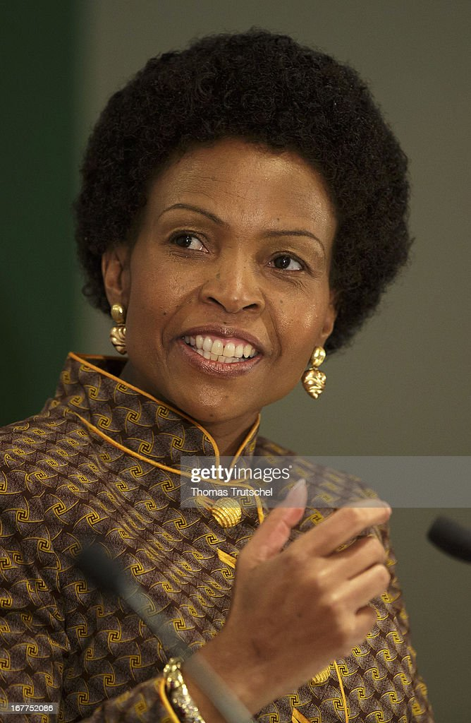 Foreign Minister of South Africa, <a gi-track='captionPersonalityLinkClicked' href=/galleries/search?phrase=Maite+Nkoana-Mashabane&family=editorial&specificpeople=3056332 ng-click='$event.stopPropagation()'>Maite Nkoana-Mashabane</a>, speaks during a press conference with German Foreign Minister Guido Westerwelle (not pictured) on April 29, 2013 in Pretoria, South Africa. Westerwelle is on a four day trip to Africa with Stops in Ghana, South Africa and Mozambique.