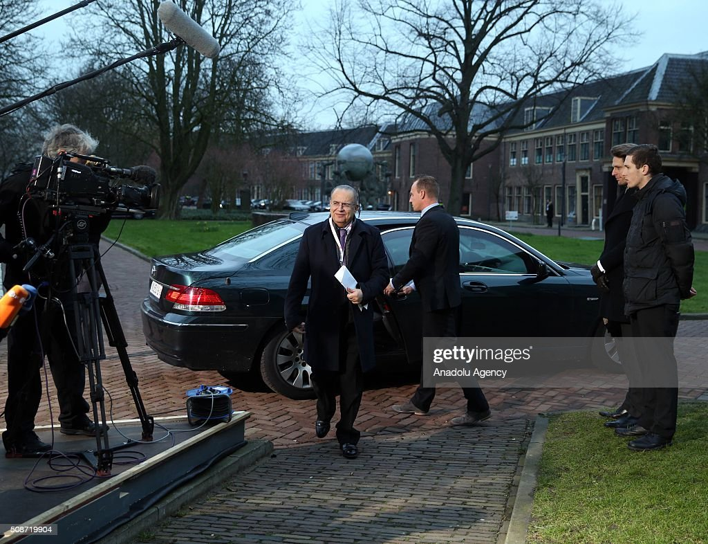 Foreign Minister of Southern Cyprus Ioannis Kasoulides (C) arrives to take part arrives to take part in Informal Gymnich meeting of EU foreign ministers in Amsterdam, Netherlands on February 6, 2016.