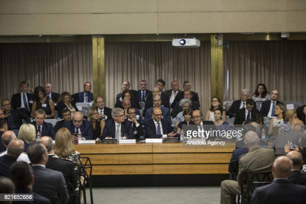 Foreign Minister of Spain Alfonso Dastis Italian Foreign Minister Angelino Alfano and French Minister for Foreign and European Affairs JeanYves Le...
