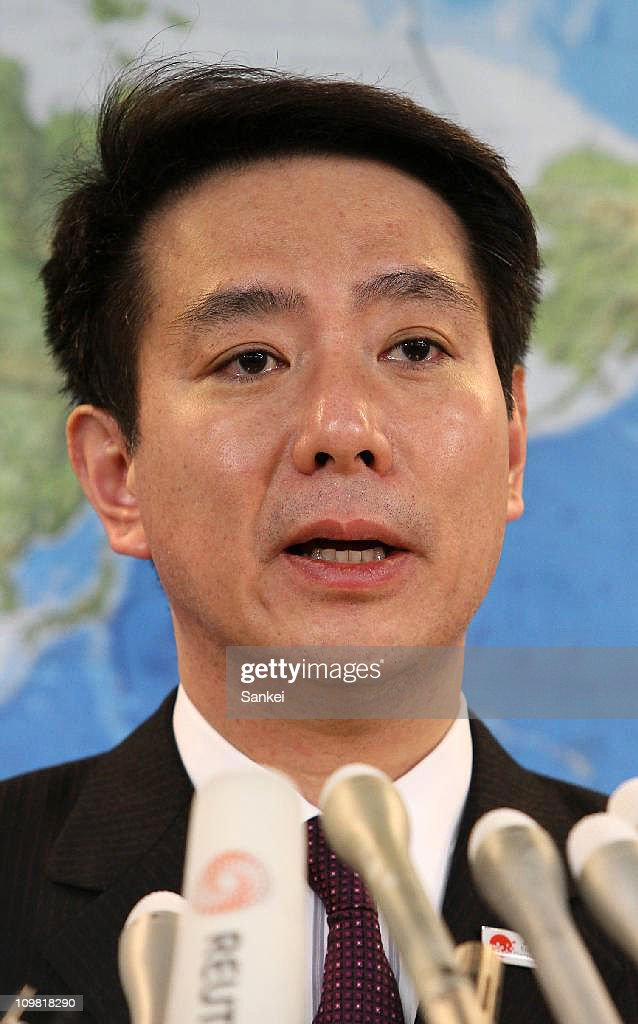 Foreign Minister Seiji Maehara speaks during the resignation press conference at the Foreign Ministry on March 6 2011 in Tokyo Japan Maehara has been...