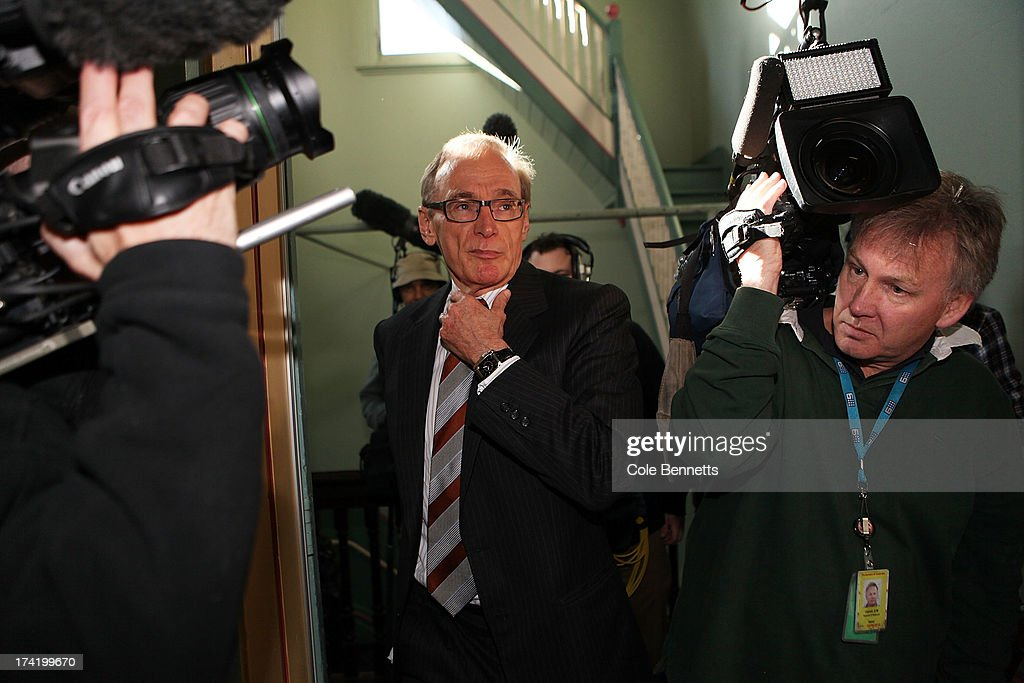 Foreign Minister, Senator <a gi-track='captionPersonalityLinkClicked' href=/galleries/search?phrase=Bob+Carr&family=editorial&specificpeople=209391 ng-click='$event.stopPropagation()'>Bob Carr</a> arrives at Balmain Hall for the meeting of the federal caucus on July 22, 2013 in Sydney, Australia. The Labor party federal caucus is gathered in Sydney today for special meeting to change how the party elects it's parliamentary leader.