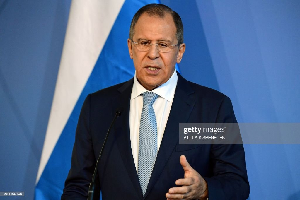 Foreign Minister Sergei Lavrov of Russia answers a journalist's question during a press conference with his Hungarian counterpart (not in picture) at the ministry in Budapest on May 25, 2016. / AFP / ATTILA