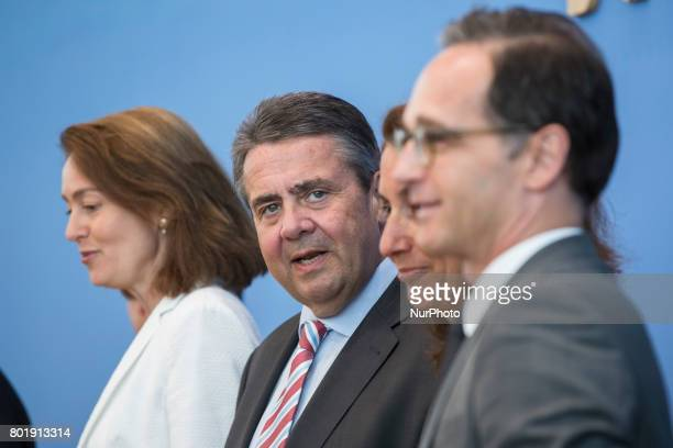 Foreign Minister Sigmar Gabriel Justice Minister Heiko Maas and Family Minister Katarina Barley attend a news conference to illustrate the work of...