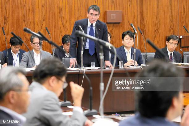 Foreign Minister Taro Kono addresses during an Upper House Foreign and Defense Committee at the diet building on September 5 2017 in Tokyo Japan The...