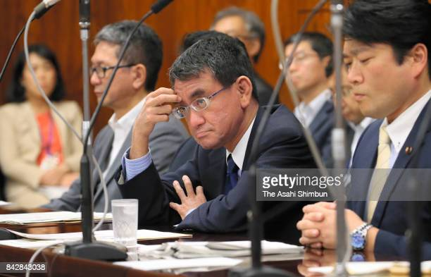Foreign Minister Taro Kono attends an Upper House Foreign and Defense Committee at the diet building on September 5 2017 in Tokyo Japan The committee...