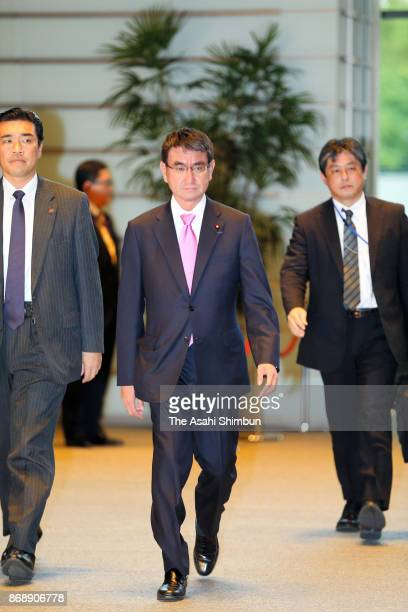 Foreign Minister Taro Kono is seen on arrival at the prime minister's official residence during the Lower House plenary session at the Diet Building...
