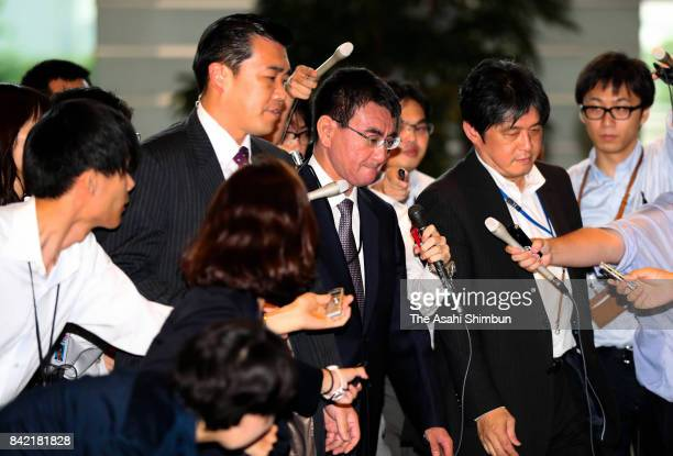 Foreign Minister Taro Kono is surrounded by media reporters on arrival at the prime minister's official residence after North Korea's nuclear test on...