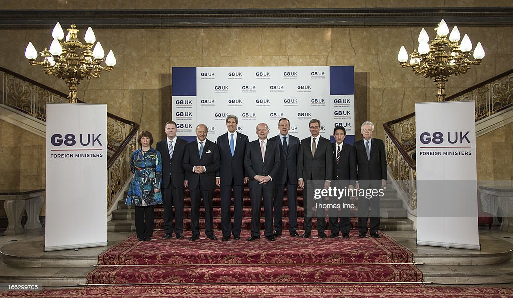 Foreign Ministers (L-R) EU foreign policy chief <a gi-track='captionPersonalityLinkClicked' href=/galleries/search?phrase=Catherine+Ashton&family=editorial&specificpeople=2314228 ng-click='$event.stopPropagation()'>Catherine Ashton</a>, Canadian Foreign Affairs Minister <a gi-track='captionPersonalityLinkClicked' href=/galleries/search?phrase=John+Baird+-+Canadian+Politician&family=editorial&specificpeople=10720753 ng-click='$event.stopPropagation()'>John Baird</a>, French Foreign Minister <a gi-track='captionPersonalityLinkClicked' href=/galleries/search?phrase=Laurent+Fabius&family=editorial&specificpeople=540660 ng-click='$event.stopPropagation()'>Laurent Fabius</a>, US Secretary of State <a gi-track='captionPersonalityLinkClicked' href=/galleries/search?phrase=John+Kerry&family=editorial&specificpeople=154885 ng-click='$event.stopPropagation()'>John Kerry</a>, British Foreign Secretary <a gi-track='captionPersonalityLinkClicked' href=/galleries/search?phrase=William+Hague&family=editorial&specificpeople=206295 ng-click='$event.stopPropagation()'>William Hague</a>, Russian Foreign Minister Sergey Lavrov, German Foreign Minister <a gi-track='captionPersonalityLinkClicked' href=/galleries/search?phrase=Guido+Westerwelle&family=editorial&specificpeople=208748 ng-click='$event.stopPropagation()'>Guido Westerwelle</a>, Japanese Foreign Minister Fumio Kishida and Italian Prime Minister <a gi-track='captionPersonalityLinkClicked' href=/galleries/search?phrase=Mario+Monti&family=editorial&specificpeople=632091 ng-click='$event.stopPropagation()'>Mario Monti</a> meet at Lancaster House on April 11, 2013 in London, England. G8 Foreign Ministers are holding a two day meeting where they will discuss the situation in the Middle East, including Syria and Iran, security and stability across North and West Africa, Democratic People's Republic of Korea and climate change. British Foreign Secretary <a gi-track='captionPersonalityLinkClicked' href=/galleries/search?phrase=William+Hague&family=editorial&specificpeople=206295 ng-click='$event.stopPropagation()'>William Hague</a> will also highlight five key policy priorities.