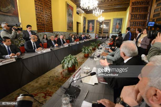 Foreign ministers of at least 14 Latin American and Caribbean nations and Canada meet in Lima on August 8 2017 to evaluate further measures against...