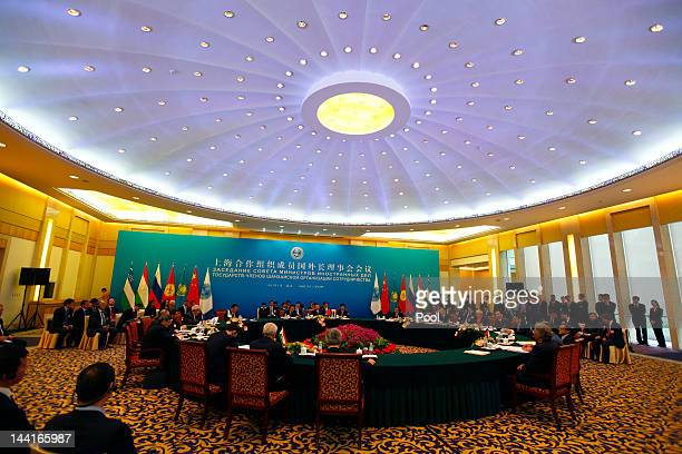 Foreign Ministers of the Shanghai Cooperation Organization member states attend a SCO council meeting of foreign ministers at the Diaoyutai State...