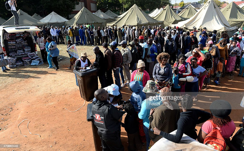 Foreign nationals at a refugee camp which haas been set up near Primrose on April 19 2015 in Johannesburg South Africa Thousands of foreign nationals...