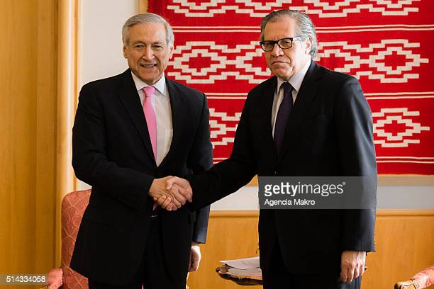 Foreign of Chile Minister Heraldo Muñoz greets Secretary General of the Organization of American States Luis Almagro during his visit to Chile at...