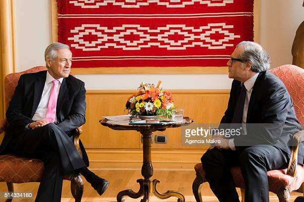 Foreign of Chile Minister Heraldo Muñoz talks with the Secretary General of the Organization of American States Luis Almagro during his visit to...