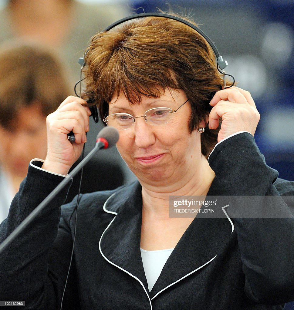 EU foreign policy chief Catherine Ashton adjusts her headphones at the European Parliament on June 16, 2010 in Strasbourg, eastern France.