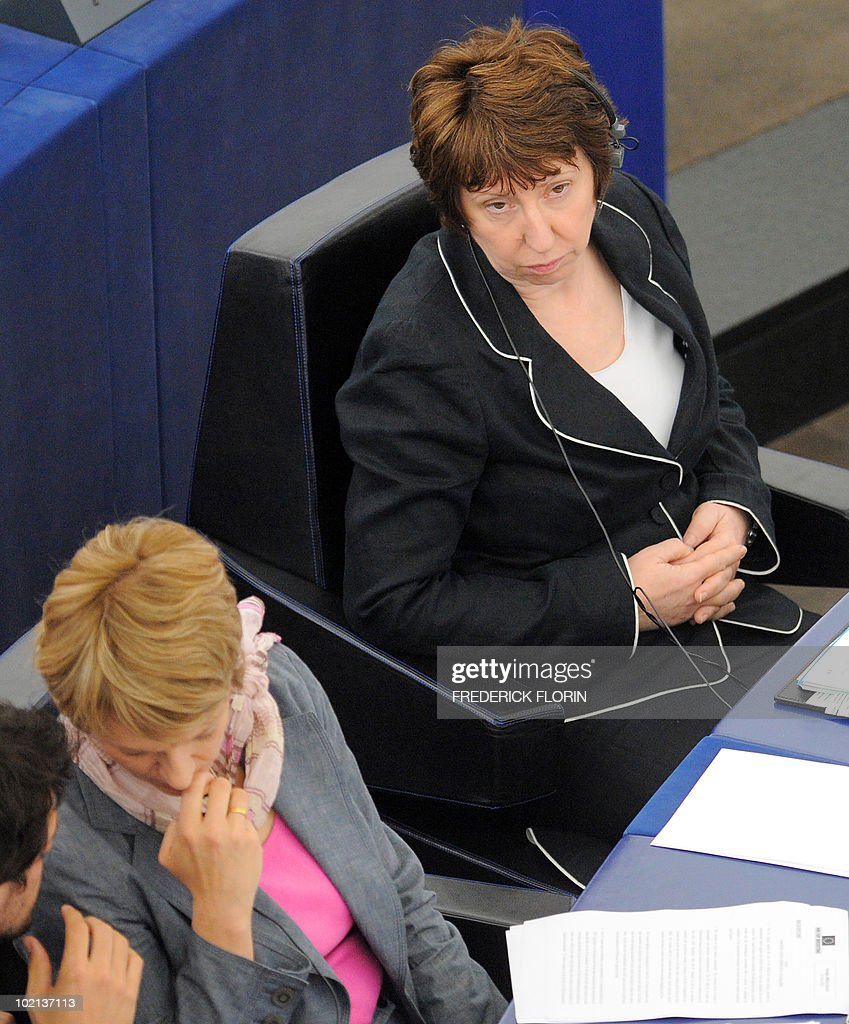 EU foreign policy chief Catherine Ashton attends a debate on the Israeli military operation against the humanitarian flotilla and the Gaza blockade, at the European Parliament on June 16, 2010 in Strasbourg, eastern France.