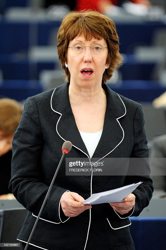 EU foreign policy chief Catherine Ashton delivers a speech at the European Parliament on June 16, 2010 in Strasbourg, eastern France.