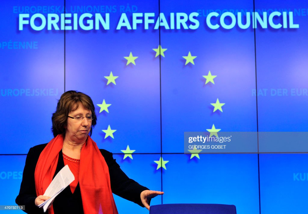 EU foreign policy chief Catherine Ashton gives a press conference following a crisis ministers of Foreign Affairs Council in Brussels on February 20,2014 on the situation in Ukraine. The European Union on Thursday agreed to impose a travel ban and asset freeze on Ukrainians with 'blood on their hands', said Italian Foreign Minister Emma Bonino.