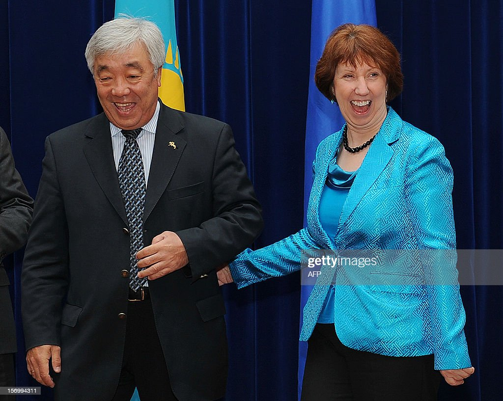 EU foreign policy chief Catherine Ashton (R) meets Kazakh Foreign Minister Yerlan Idrisov on the sidlens of the EU-Central Asia Ministerial meeting in the Kyrgyzstan's capital Bishkek on November 27, 2012 . AFP PHOTO / ILYAS OMAROV