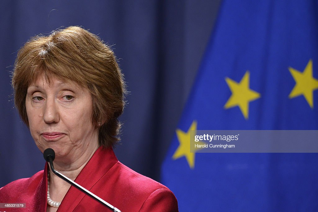 EU Foreign Policy Chief <a gi-track='captionPersonalityLinkClicked' href=/galleries/search?phrase=Catherine+Ashton&family=editorial&specificpeople=2314228 ng-click='$event.stopPropagation()'>Catherine Ashton</a> speaks during a press conference at the Intercontinental hotel on April 17, 2014 in Geneva, Switzerland. Leaders from EU, US, Ukraine and Russia are meeting today in Geneva to deescalate the crisis in Ukraine and to find a political solution.