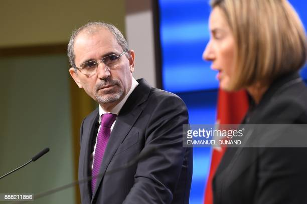 EU foreign policy chief Federica Mogherini and Jordan's Foreign Minister Ayman alSafadi address a joint press conference over the US president's...