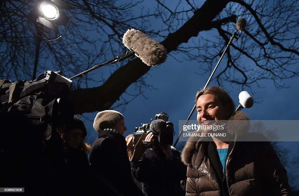 EU foreign policy chief Federica Mogherini arrives to take part in a EU foreign ministers meeting in Amsterdam, on February 6, 2016. The European Union on Wednesday finally reached agreement on how to finance a three-billion-euro ($3.3-billion) deal to aid Syrian refugees in Turkey, in exchange for Ankara's help in stemming the flow of migrants. / AFP / EMMANUEL DUNAND