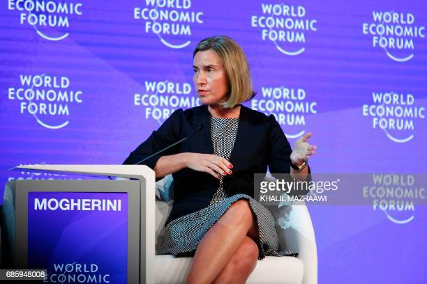EU foreign policy chief Federica Mogherini attends the the World Economic Forum held in the Dead Sea resort of Shuneh west of the Jordanian capital...