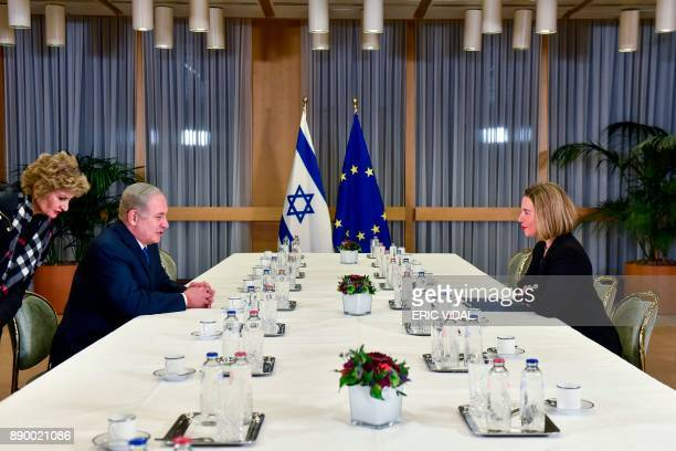 EU foreign policy chief Federica Mogherini meets with Israeli Prime Minister Benjamin Netanyahu at the European Council in Brussels on December 11...