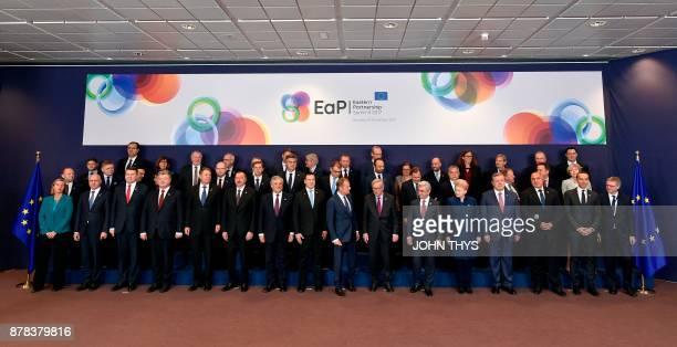 EU foreign policy chief Federica Mogherini Moldovian Prime Minister Pavel Filip President of Latvia Raimonds Vejonis Ukraine's Prime Minister Petro...