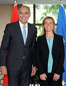 EU foreign policy chief Federica Mogherini poses for a picture with Moroccan Minister of Foreign Affairs Salaheddine Mezouar in Rabat on July 21 2015...