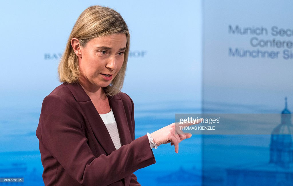 EU foreign policy chief Federica Mogherini speaks at the 52nd Munich Security Conference (MSC) in Munich, southern Germany, on February 12, 2016 KIENZLE