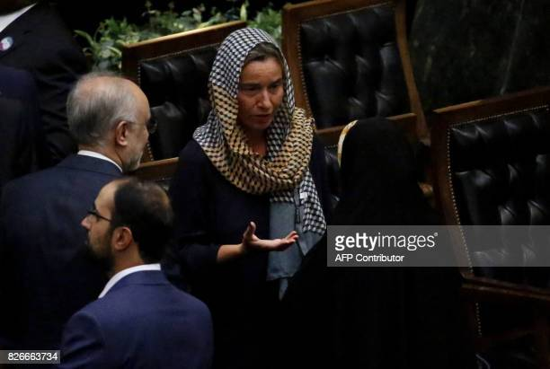 EU foreign policy chief Federica Mogherini speaks to officals after Iran's President's swearing in ceremony in Tehran on August 5 2017 Rouhani warned...