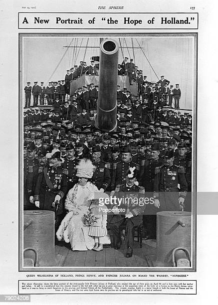 Foreign Royalty May 1912 Queen Wilhelmina of Holland with Prince Henry and Princess Juliana on board the warship 'Hunskerk'