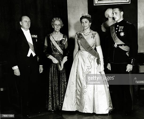circa 1958's King Olav of Norway left with Princess Ingeborg Princess Astrid 2nd right and Prince Harald at the Royal Palace in Oslo at the...