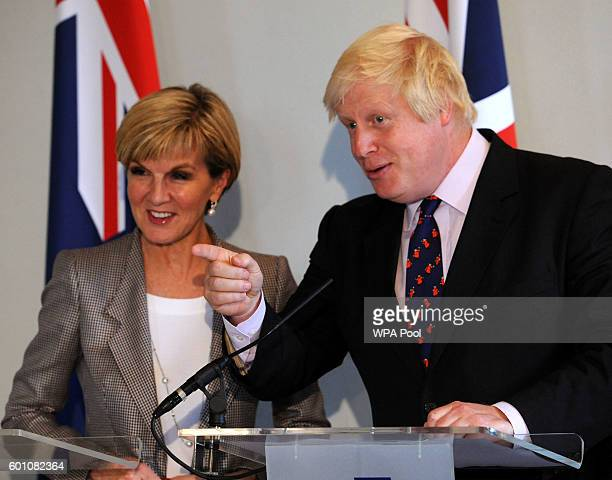 Foreign Secretary Boris Johnson and Australian Foreign Minister Julie Bishop speak during a press conference at the Royal Hospital Chelsea during the...