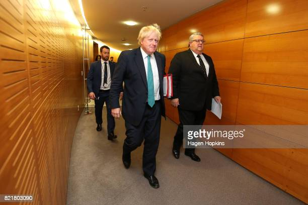 Foreign Secretary Boris Johnson and Minister of Foreign Affairs Gerry Brownlee arrive at a press conference at Parliament on July 25 2017 in...