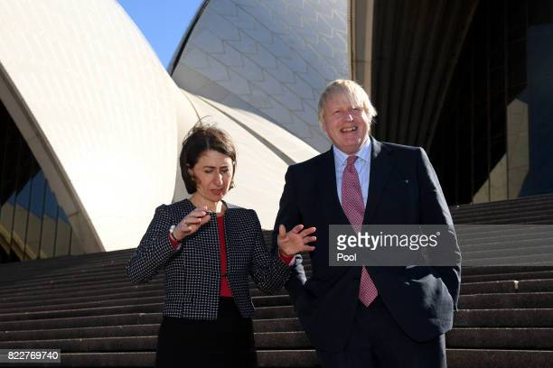 Foreign Secretary Boris Johnson and NSW Premier Gladys Berejiklian pose for a photograph at the Sydney Opera House in Sydney Wednesday July 26 2017...