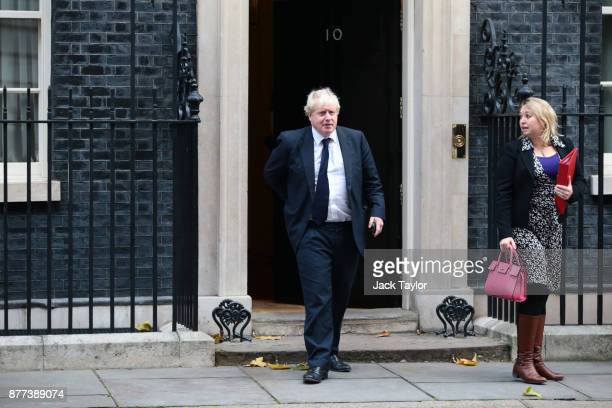 Foreign Secretary Boris Johnson and Secretary of State for Digital Culture Media and Sport Karen Bradley leave after a cabinet meeting ahead of the...