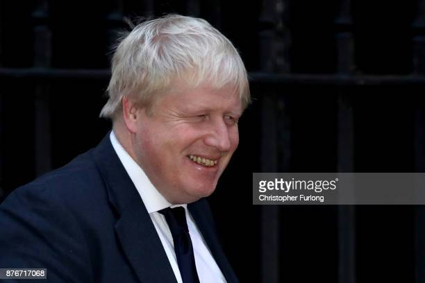 Foreign Secretary Boris Johnson arrives at Downing Street for the Inner Brexit Cabinet meeting on November 20 2017 in London England Prime Minister...