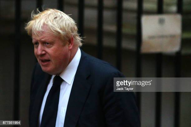 Foreign Secretary Boris Johnson arrives for a cabinet meeting ahead of the Chancellor's annual budget at 10 Downing Street on November 22 2017 in...