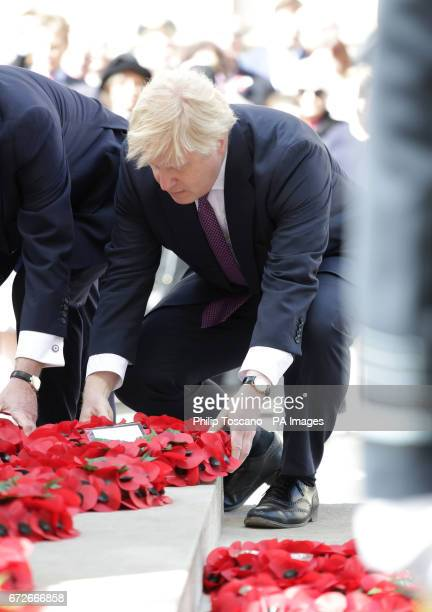 Foreign Secretary Boris Johnson lays a wreath at the Cenotaph in London during Anzac Day commemorations marking the anniversary of the first major...