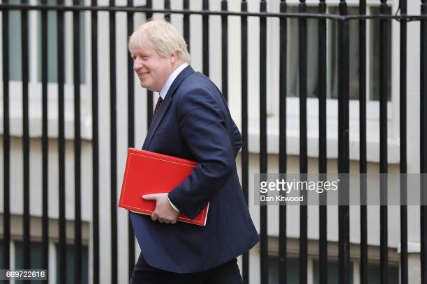 Foreign Secretary Boris Johnson leaves 10 Downing Street after Prime Minister Theresa May announced a General Election on April 18 2017 in London...
