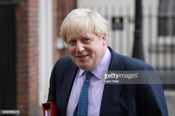 Foreign Secretary Boris Johnson leaves following a Cabinet meeting at 10 Downing Street on November 29 2016 in London England The government has been...