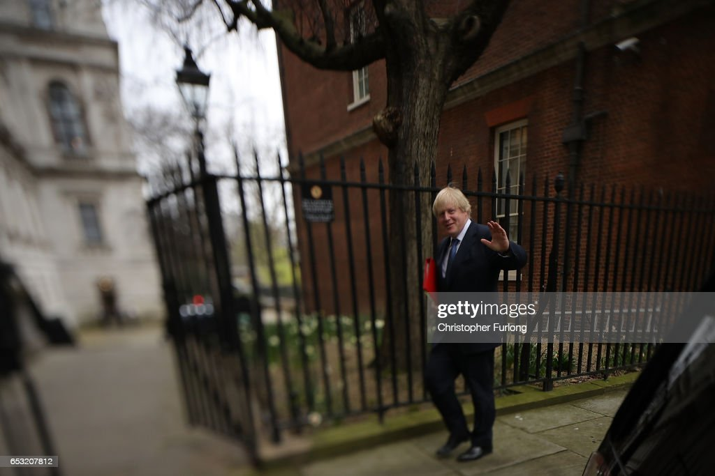 Foreign Secretary Boris Johnson leaves number 10, Downing Street as British Prime Minister Theresa May prepares to make a statement in parliament on March 14, 2017 in London, England. Following a vote in Parliament, British Prime Minister Theresa May now has the power to trigger Article 50, formally beginning the process that will see Britain leave the European Union.