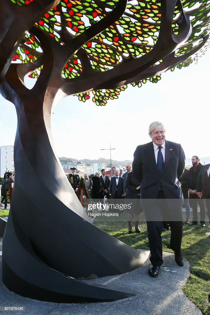 UK Foreign Secretary Boris Johnson looks on after unveiling the UK Memorial at Pukeahu War Memorial Park on July 24, 2017 in Wellington, New Zealand. The British Foreign Secretary and former London Mayor is visiting New Zealand on a two-day trip.