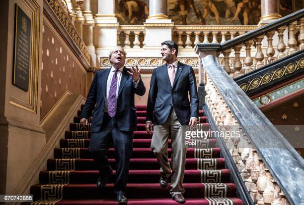 Foreign Secretary Boris Johnson looks up at the ornate ceiling as he walks with Speaker of the United States House of Representatives Paul Ryan in...