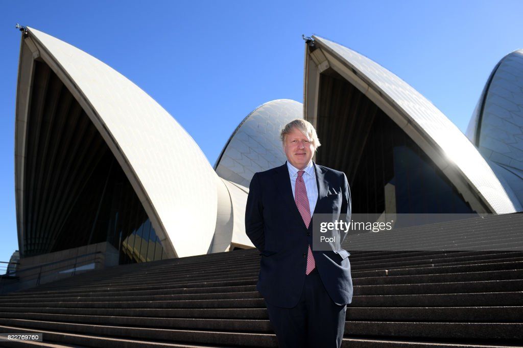 UK Foreign Secretary Boris Johnson poses for a photograph at the Sydney Opera House, in Sydney, Wednesday, July 26, 2017. UK Foreign Secretary Boris Johnson is in Sydney, Australia to attend AUKMIN, the annual meeting of UK and Australian Foreign and Defence Ministers.