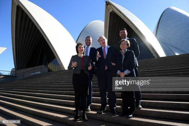 Foreign Secretary Boris Johnson poses for a photograph with NSW Premier Gladys Berejiklian Managing Director Laing O'Rourke Australia Cathal O'Rourke...