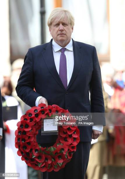 Foreign Secretary Boris Johnson prepares to lay wreaths at the Cenotaph in London during Anzac Day commemorations marking the anniversary of the...