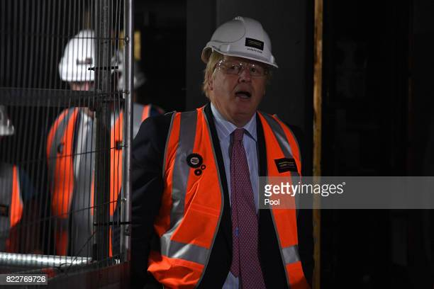 Foreign Secretary Boris Johnson tours construction work underway in the Joan Sutherland Theatre at the Sydney Opera House in Sydney Wednesday July 26...